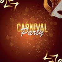 Karnevalspartyeinladungs-Grußkarte mit kreativer goldener Maske und Hintergrund vektor