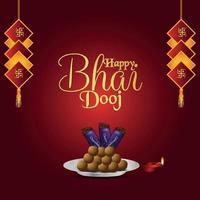 bhai dooj festivalen för bror och syster firande gratulationskort vektor