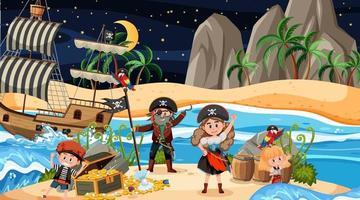 Schatzinselszene bei Nacht mit Piratenkindern auf dem Schiff vektor