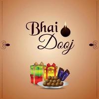 bhai dooj firande gratulationskort med kreativa gåvor och söta vektor
