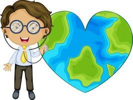 Erde in Herzform mit einer Doktor-Zeichentrickfigur vektor