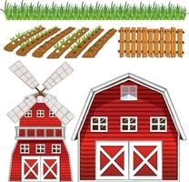 Bauernhofelementsatz lokalisiert auf weißem Hintergrund vektor