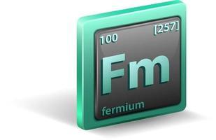 chemisches Fermiumelement chemisches Symbol mit Ordnungszahl und Atommasse vektor