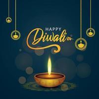 kreative Illustration der glücklichen diwali Grußkarte vektor