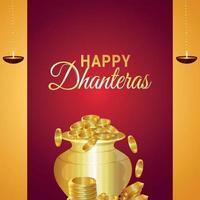 glückliche dhanteras das Festival von Indien-Einladungsgrußkarte mit Vektorillustration des Goldmünztopfes vektor