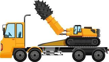 Abschleppwagen mit Bauwagen lokalisiert auf weißem Hintergrund vektor