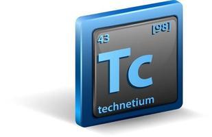 Chemetisches Symbol für chemisches Technetium-Element mit Ordnungszahl und Atommasse vektor