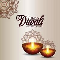 lycklig diwali inbjudningskort med kreativ diya vektor