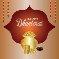 shubh dhanteras gratulationskortdesign med gyllene myntkruka med lotusblomma vektor