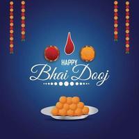 indisk festival glad bhai dooj firande gratulationskort med kreativa pooja thali och kalash vektor