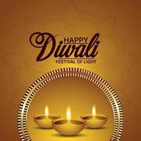lycklig diwali realistisk vektorillustration och bakgrund vektor