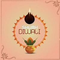 lycklig diwali festival fest bakgrund med kreativa kalash och diya vektor
