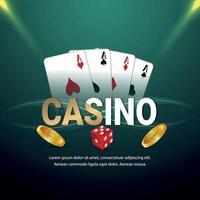 Casino VIP Luxus-Glücksspiel mit Chips, Karten und Würfeln vektor