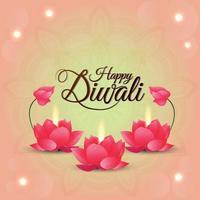lycklig diwali firande gratulationskort med kreativ lotusblomma och bakgrund vektor