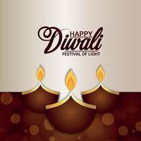 lycklig diwali firande gratulationskort med vektorillustration och bakgrund vektor