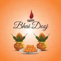 glückliche bhai dooj realistische Grußkarte mit kreativem Kalash und Geschenken vektor