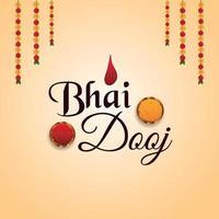 bhai dooj indiska festival firande gratulationskort med kreativ bakgrund vektor