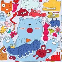 söta färgglada monster, djur doodle tecknade seamless mönster vektor