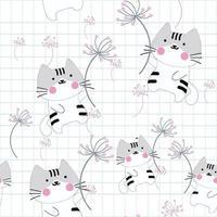 Katze im Wind mit Löwenzahnblume vektor