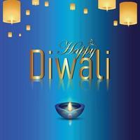 realistisk vektorillustration av glad diwali festivalen för ljus firande gratulationskort med kreativa diwali diya vektor