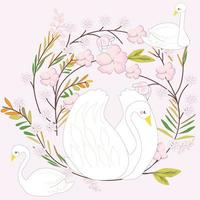 weißer Schwan Cartoon, rosa süßer Blumenrahmen vektor