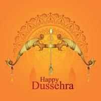 glückliche dussehra Einladungsgrußkarte mit kreativer Vektorillustration von shri rama Pfeil und Bogen vektor