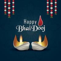 glad bhai dooj festivalen för bror och syster gratulationskort vektor