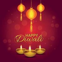 lycklig diwali festival för ljus, festival för Indien firande gratulationskort vektor