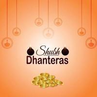 gratulationskort för dhanterasinbjudan med kreativ guldmyntkruka och bakgrund vektor