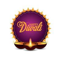 lycklig diwali indisk festival firande gratulationskort med kreativa diwali diya på vit bakgrund vektor