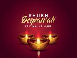 lycklig diwali festival i Indien firande inbjudningskort med diwali lampa och olja diya vektor