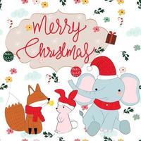 niedliches Tier Cartoon Frohe Weihnachten nahtloses Muster vektor