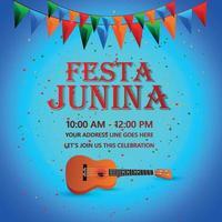festa junina festevenemang med färgglad festflagga och gitarr vektor