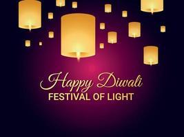 lycklig diwali festival med ljus bakgrund vektor