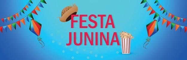 Vektorillustration von Festa Junina Einladungsfahne oder -kopf vektor