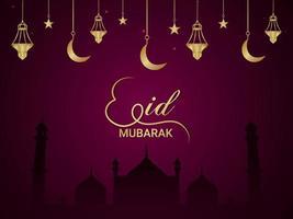 eid mubarak islamisk festival med kreativ gyllene måne och lykta vektor