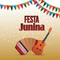 festa junina gratulationskort med kreativa färgglada festflagga och gitarr vektor