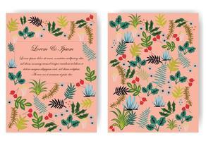 niedliche süße rote, rosa und blaue wilde Blumenblumenrahmen für Hochzeitskarte vektor