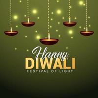indisk festival av lyckligt diwali gratulationskort med kreativ bakgrund vektor