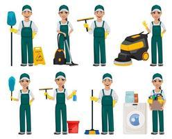 Reinigungsservice-Konzept. fröhliche Zeichentrickfigur vektor
