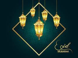 eid mubarak inbjudningskort med kreativ bakgrund vektor