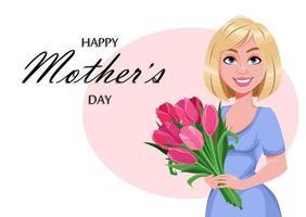 glückliche Muttertagsgrußkarte. schöne Frau vektor