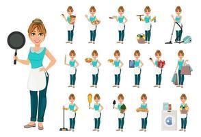 glückliche Hausfrau, Satz von siebzehn Posen vektor