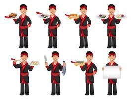 japanischer Koch, der Sushi-Rollen kocht vektor