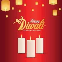 lycklig diwali inbjudningskort, diwali festivalen i Indien bakgrund vektor