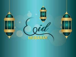 vektor illustration av eid mubarak, eid islamisk festival firande gratulationskort