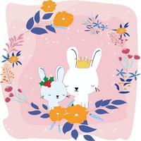 süße Kaninchen im Blumenrahmen vektor