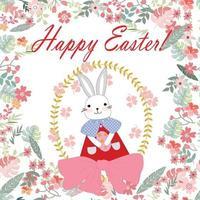 süßes Kaninchenmädchen im Blumenrahmen, glückliches Ostern vektor