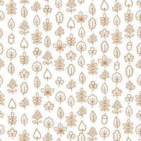 nahtloses Blumenmuster des Herbstlaubs. Herbst Natur Ziertapete. Blattsymbol gesetzt in Zierfliesenhintergrund. vektor