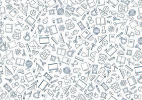 nahtloses Muster der Schulbildung. Bildungssymbole skizzieren Hintergrund mit Schulmaterial. zurück zu Schule Ikonen Gekritzel Line Art Notebook Hintergrund. vektor